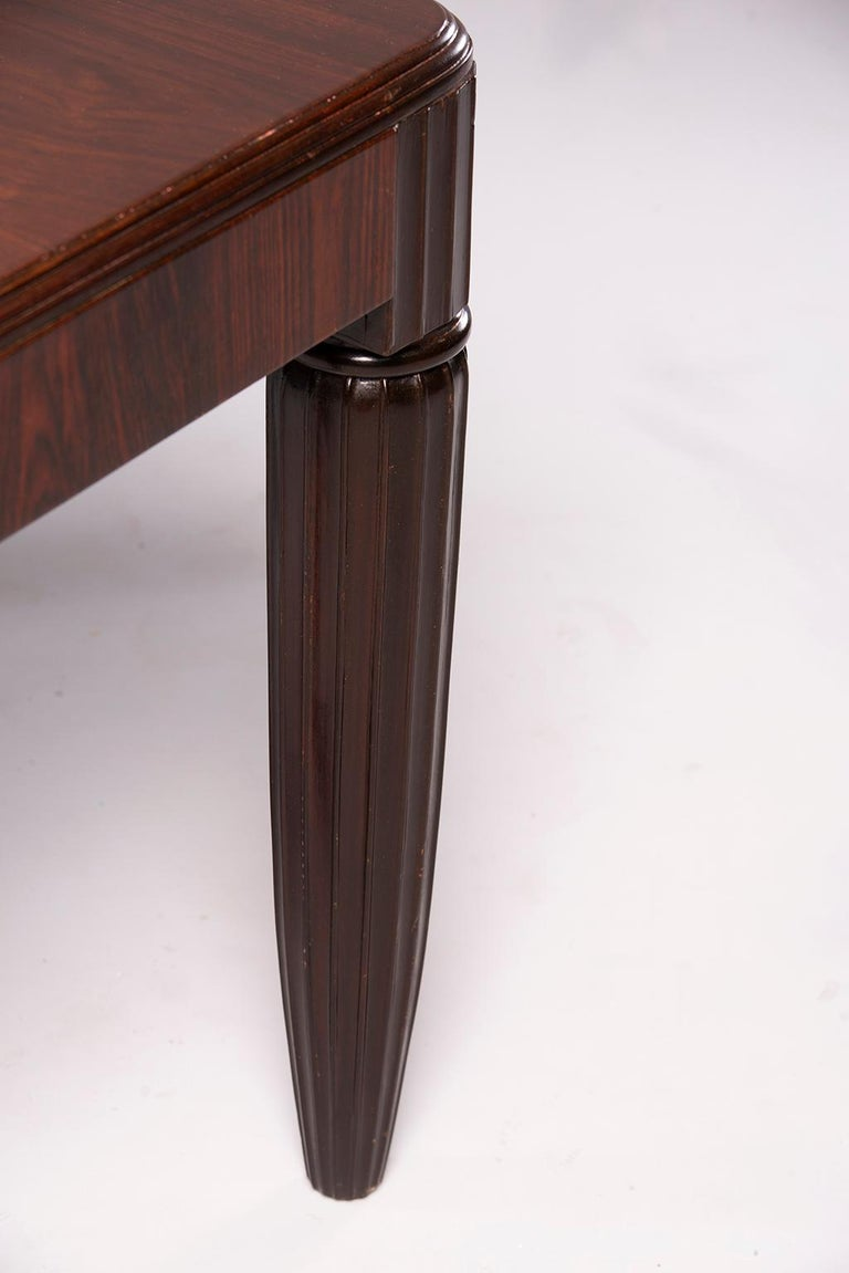 French Rosewood Writing Table with Fluted Legs For Sale 3
