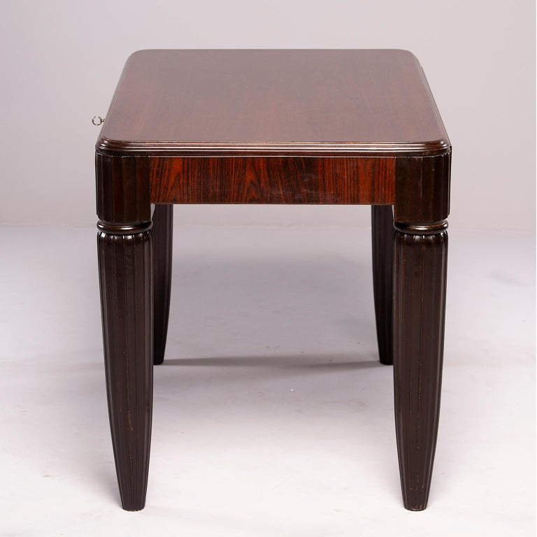 French Rosewood Writing Table with Fluted Legs For Sale 4