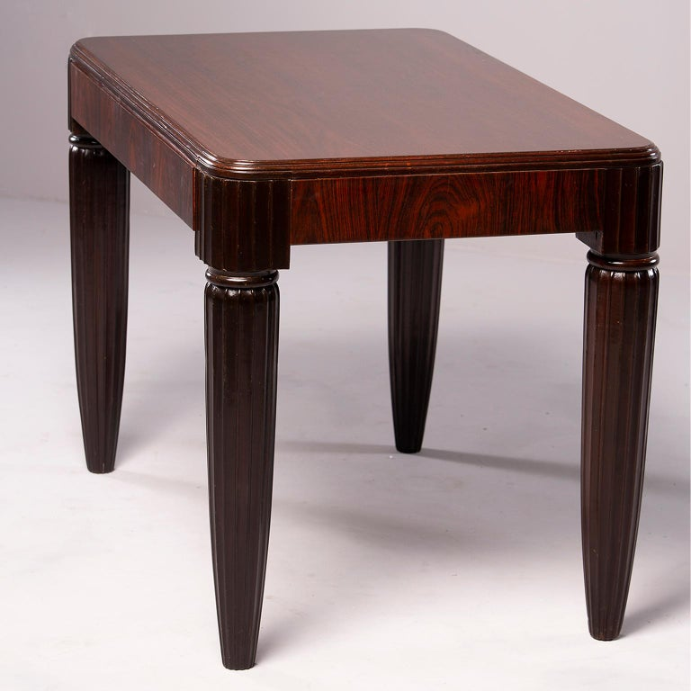 French Rosewood Writing Table with Fluted Legs For Sale 5