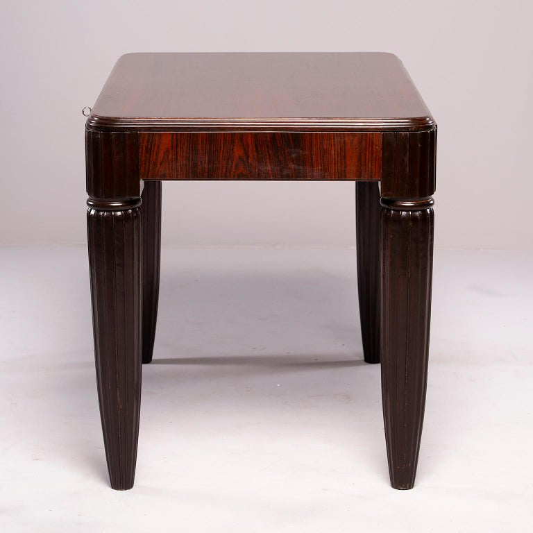 French Rosewood Writing Table with Fluted Legs For Sale 6