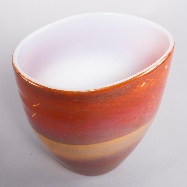Murano glass opaline bowl form vase by Ermanno Nason for Antonio da Ros features rich color bands of red, amber and ochre. Excellent vintage condition with no flaws found, circa 1960s.