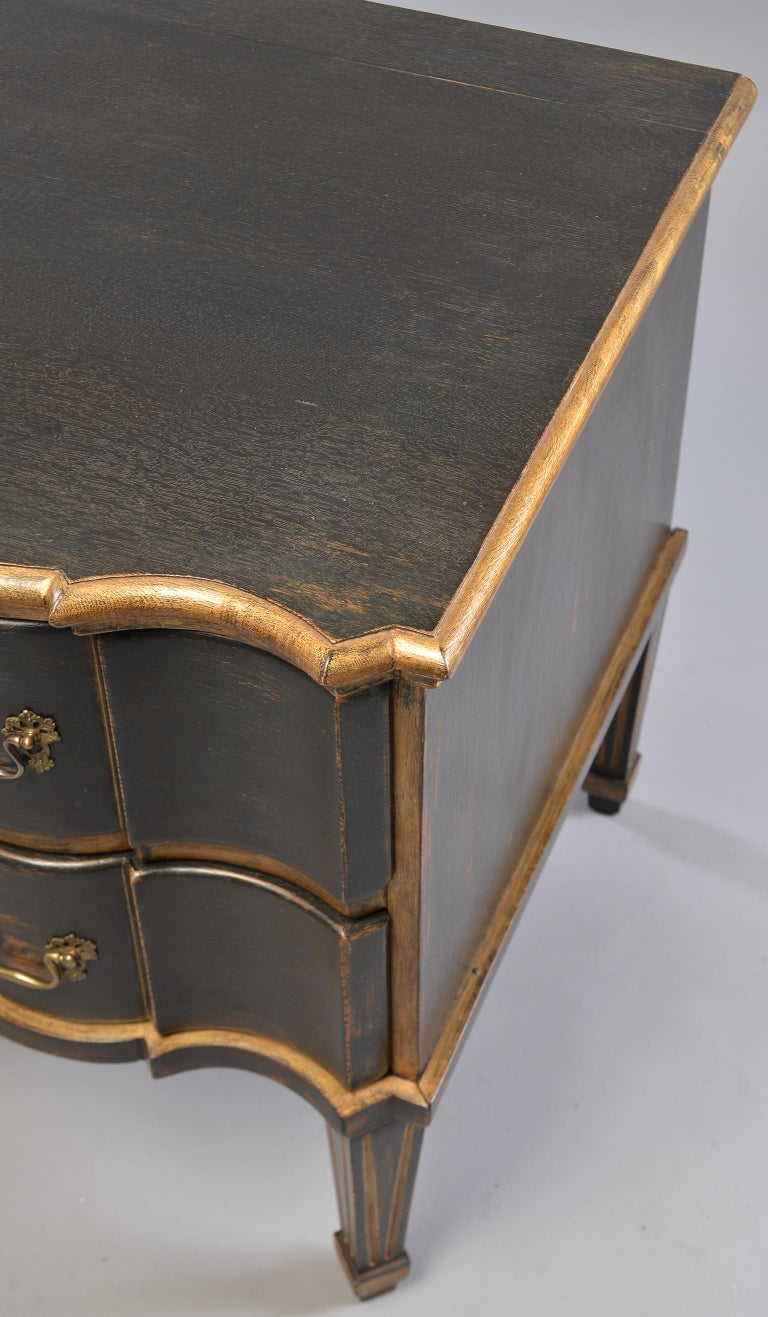Pair of 19th Century Danish Painted and Gilded Oak Serpentine Chests For Sale 6