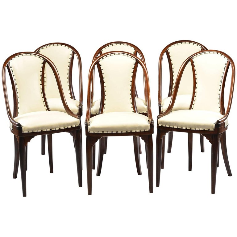 Six Otto Prutscher for Thonet Bentwood Armchairs with New Leather Upholstery For Sale