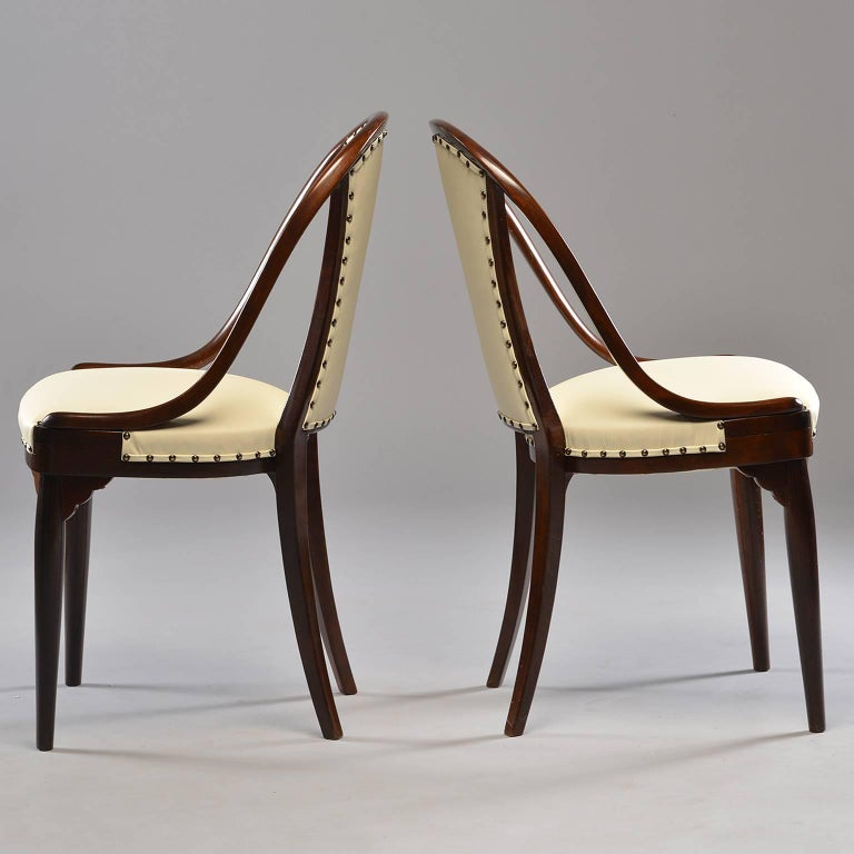 Jugendstil Six Otto Prutscher for Thonet Bentwood Armchairs with New Leather Upholstery For Sale