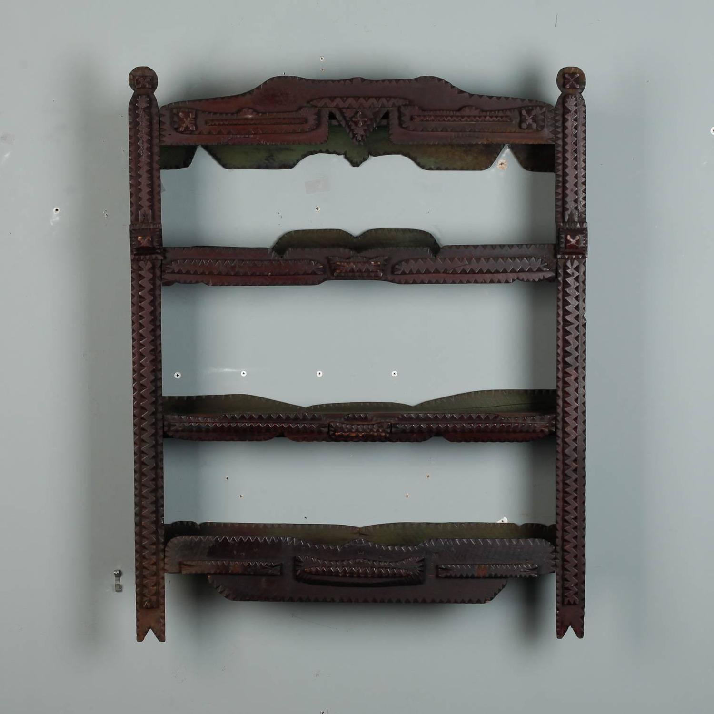 tramp art wall shelf for sale at 1stdibs. Black Bedroom Furniture Sets. Home Design Ideas