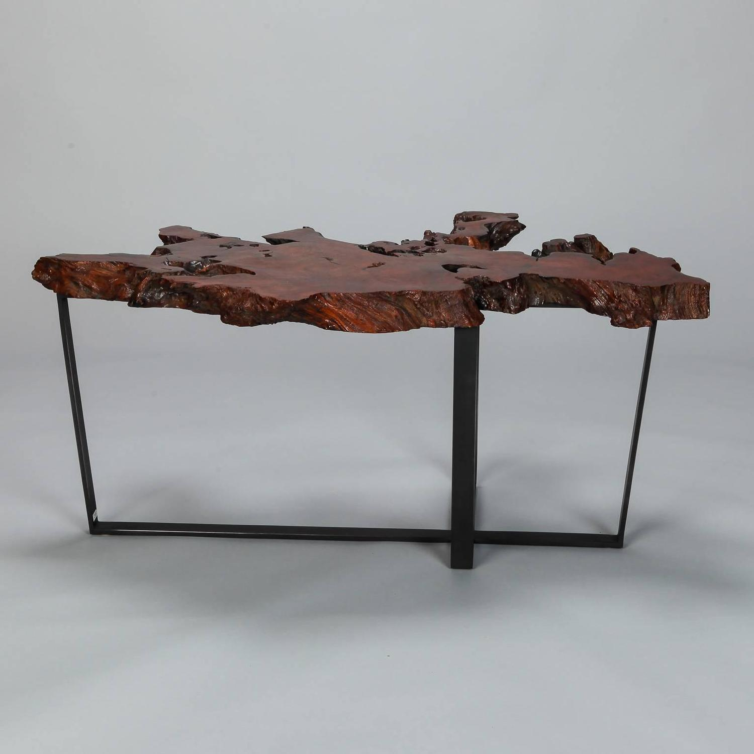 25 Ideas Of Metal Coffee Table Base Only: Petrified Live Edge Cocktail Table On Metal Base For Sale