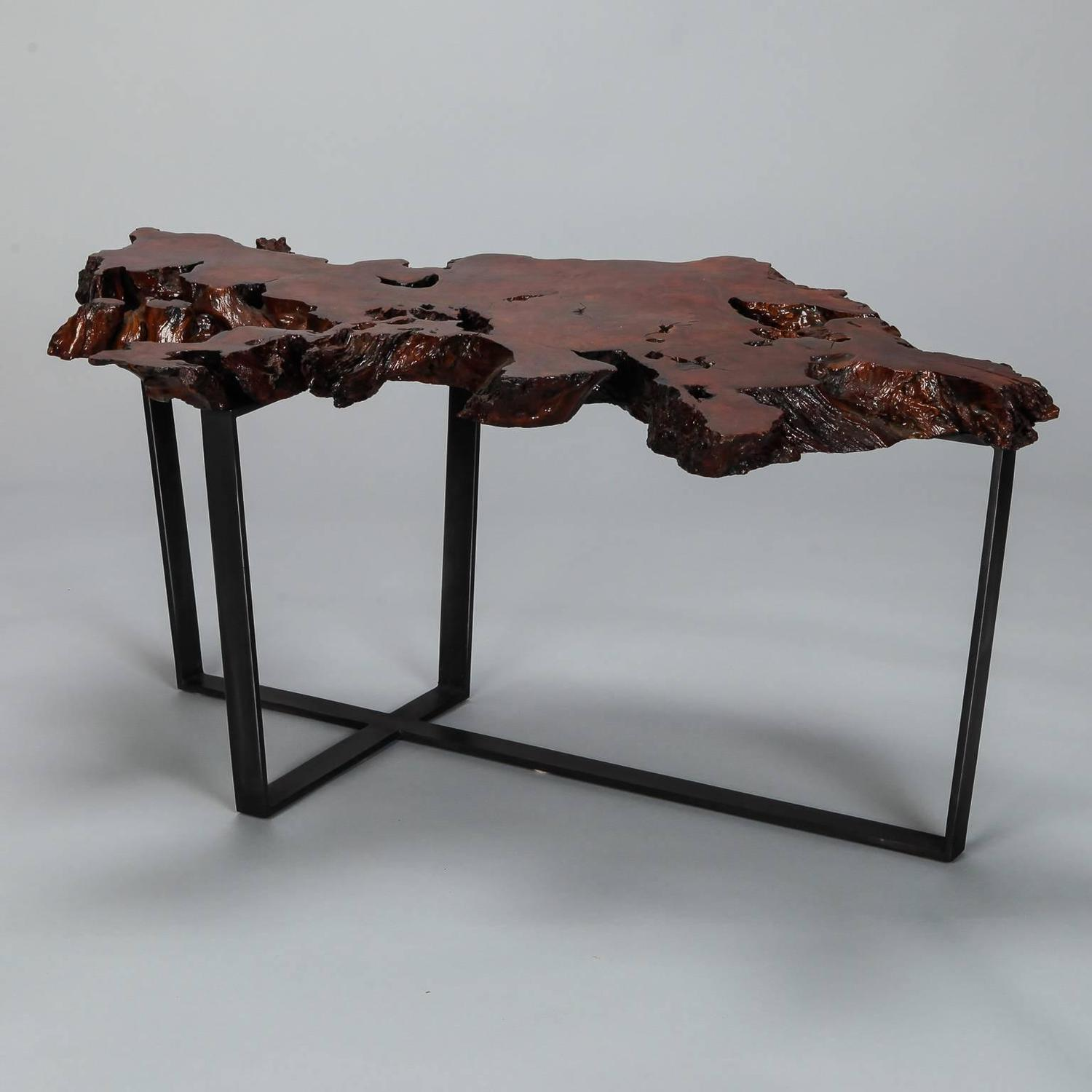 Petrified Live Edge Cocktail Table On Metal Base For Sale At 1stdibs