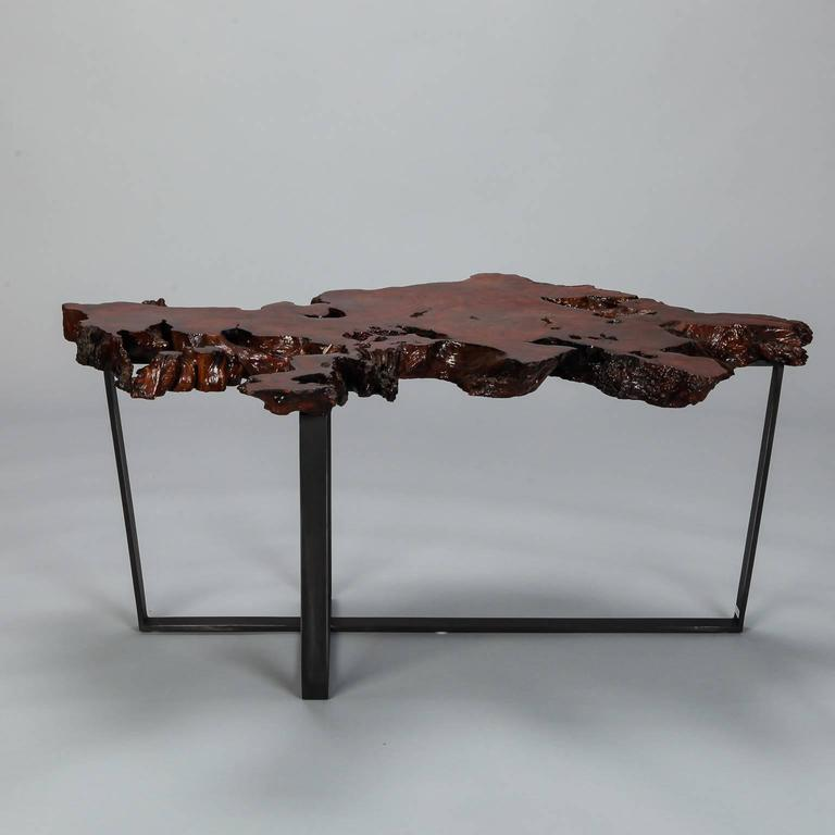 Best Finish For Live Edge Coffee Table: Petrified Live Edge Cocktail Table On Metal Base For Sale