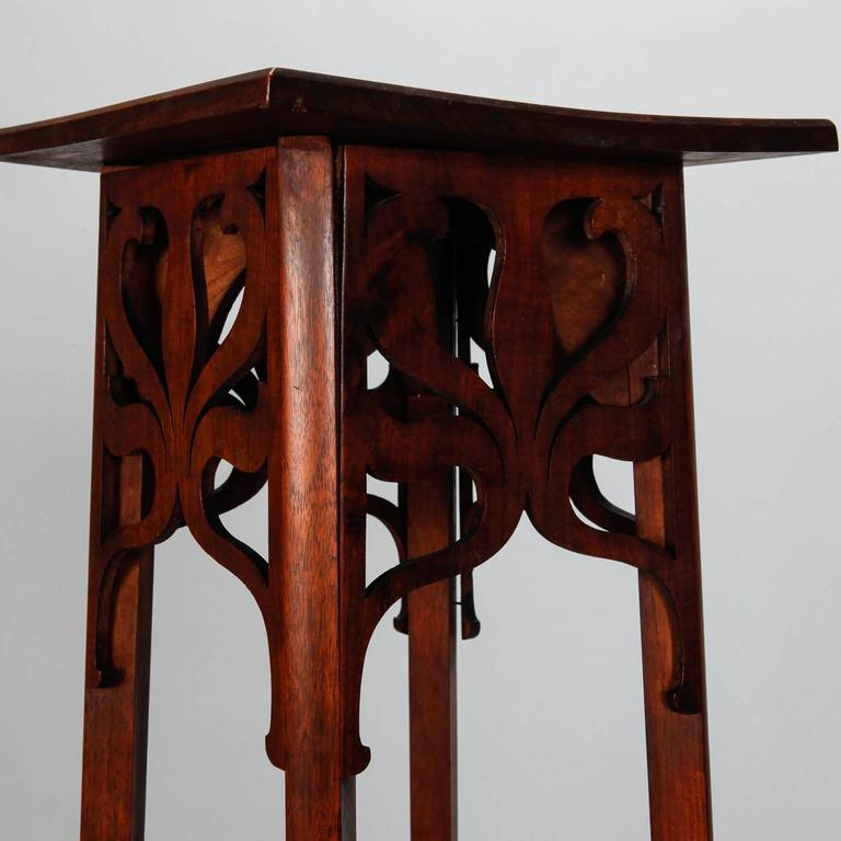 Arts And Crafts Carved Wood Plant Or Statue Stand At 1stdibs