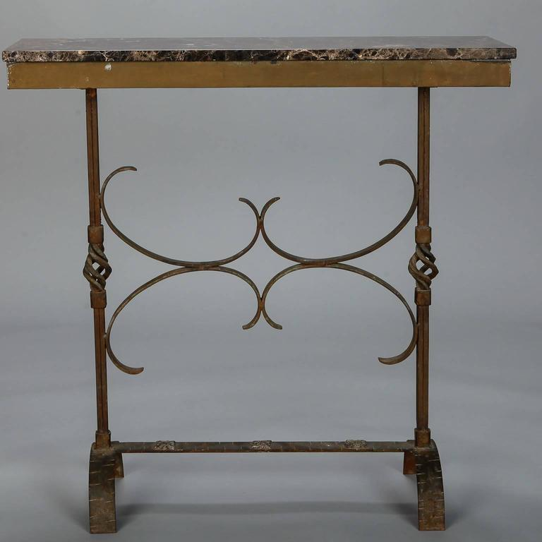 art deco fer forge console with marble top for sale 5