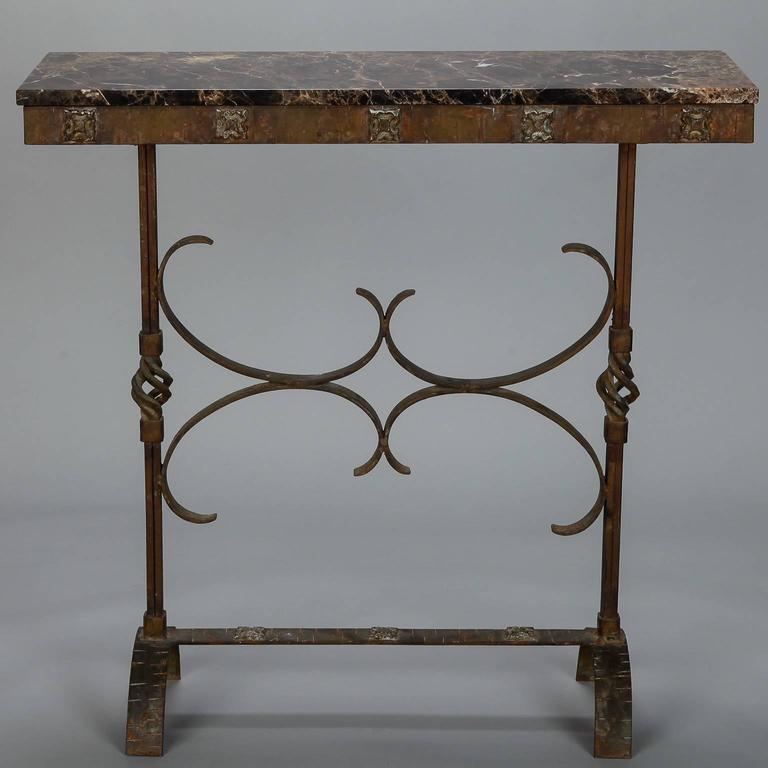 Art deco fer forge console with marble top at 1stdibs - Console art deco fer forge ...