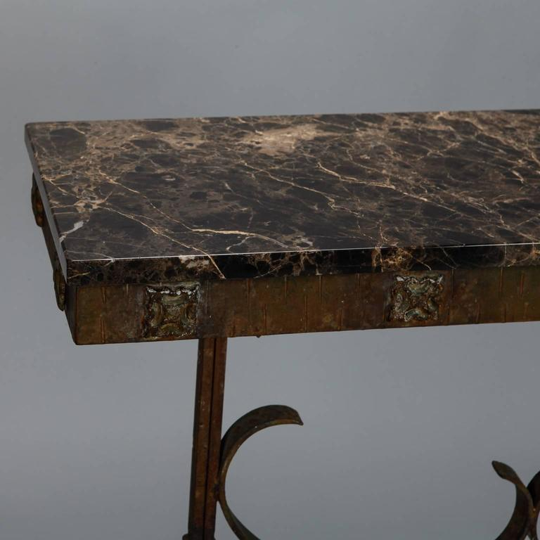 art deco fer forge console with marble top at 1stdibs. Black Bedroom Furniture Sets. Home Design Ideas