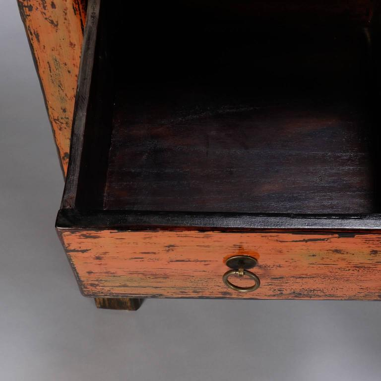 Carved Chinese Painted and Lacquered Three-Drawer Console For Sale
