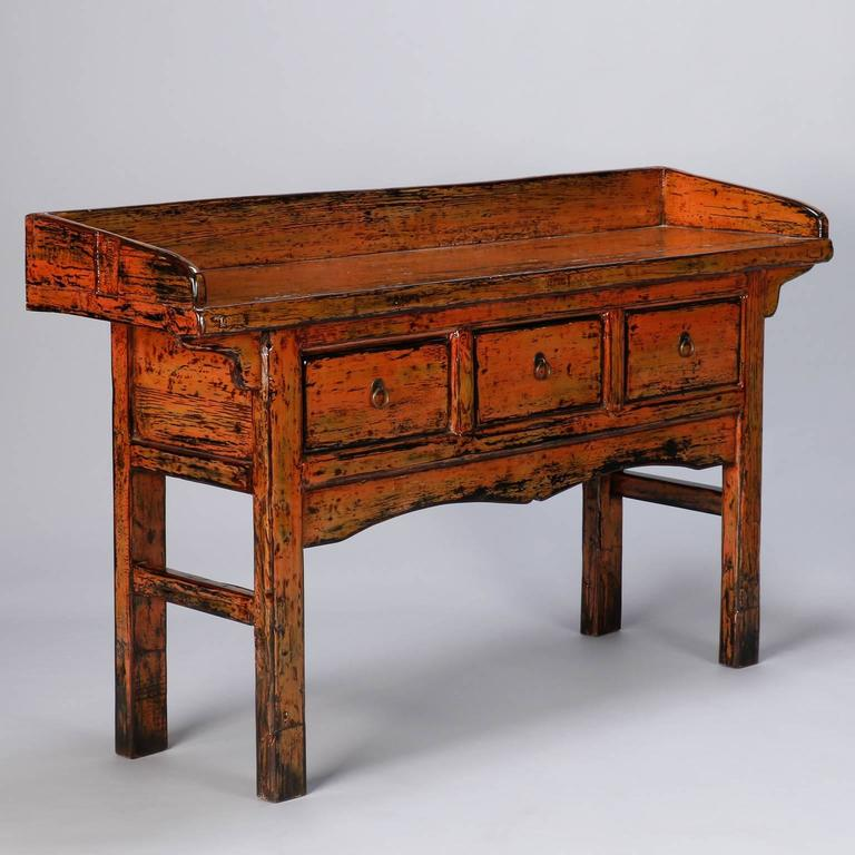 Chinese Painted and Lacquered Three-Drawer Console In Excellent Condition For Sale In Troy, MI