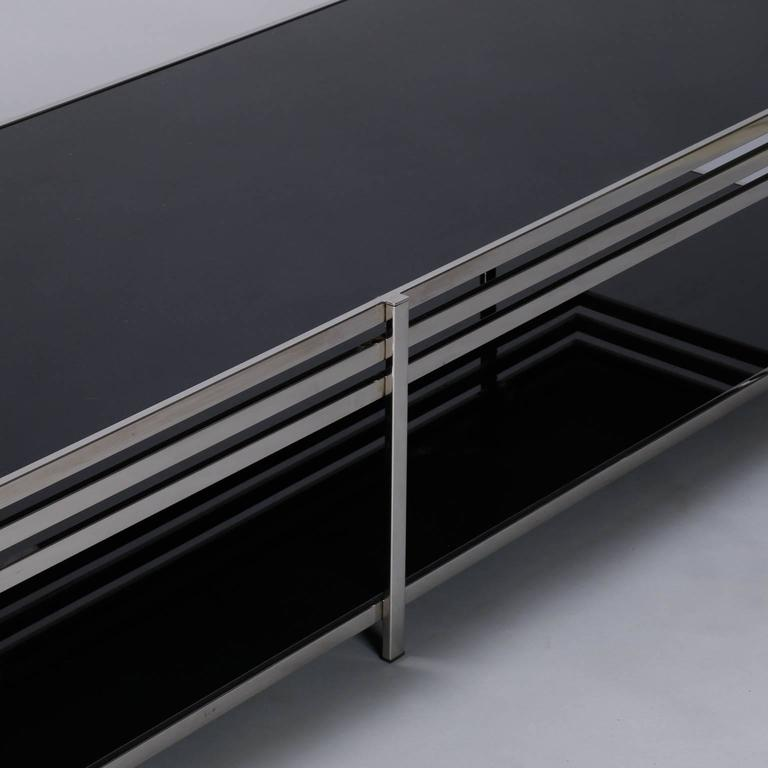 Long Low Coffee Table: Midcentury Long And Low Black Glass And Chrome Coffee