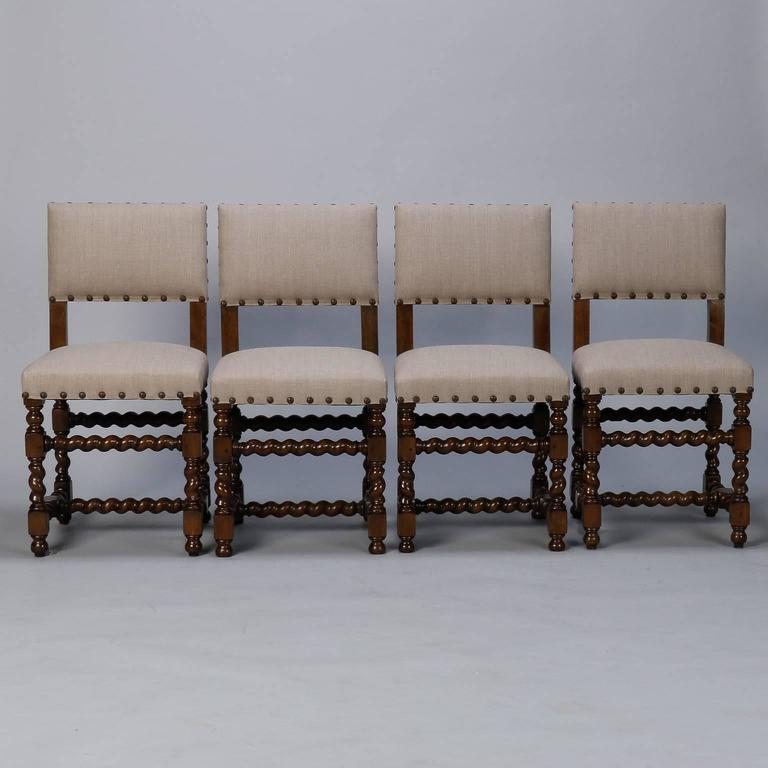 Beau Circa 1920s Set Of Six Spanish Dining Chairs With Carved Barley Twist Legs,  Arms And