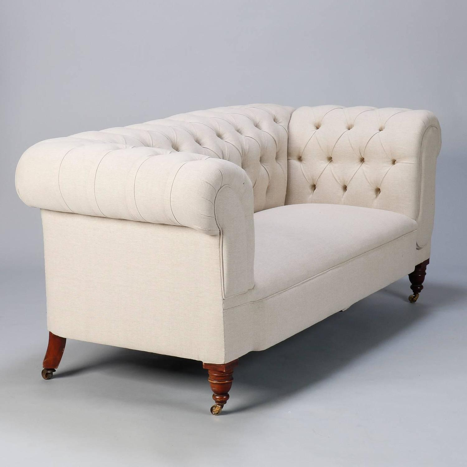 linen chesterfield sofa with collapsible arm at 1stdibs. Black Bedroom Furniture Sets. Home Design Ideas