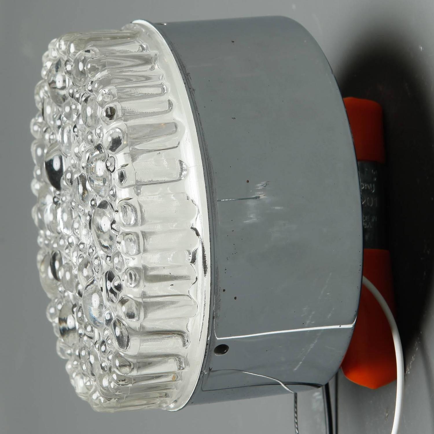 Mid-Century Round Molded Bubble Glass Wall or Ceiling Light at 1stdibs