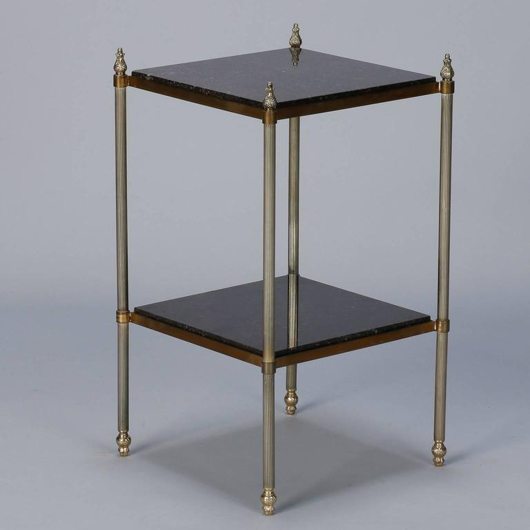 French TwoTier Marble And Brass Side Table At Stdibs - Marble and brass end table