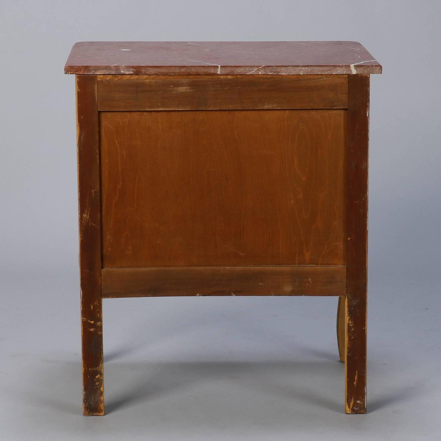 Small French Painted Chest With Marble Top And Bronze