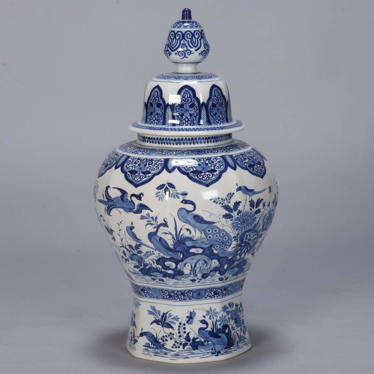 Large blue and white chinese style dutch vase with lid for sale at 1stdibs - Large decorative vases and urns ...