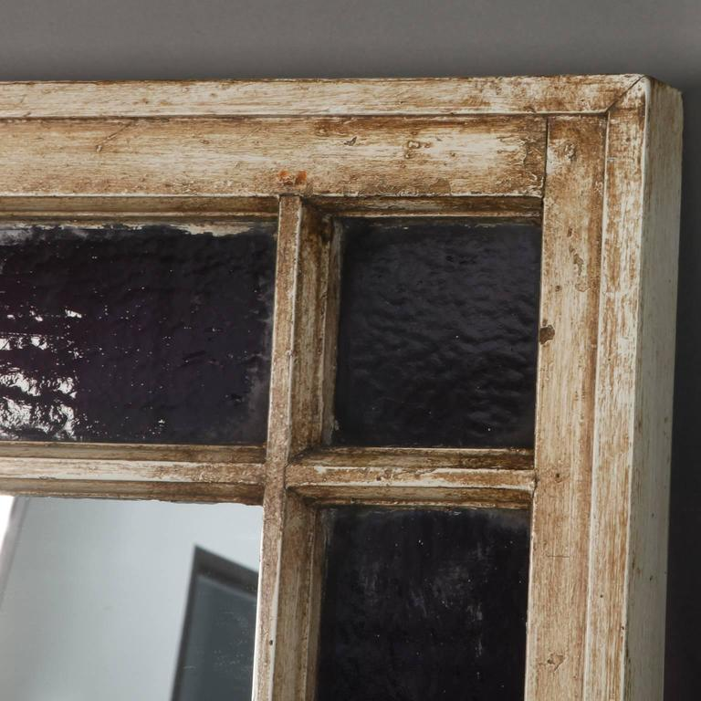 Antique Window Frame Mirror with Original Amethyst Stained Glass For ...