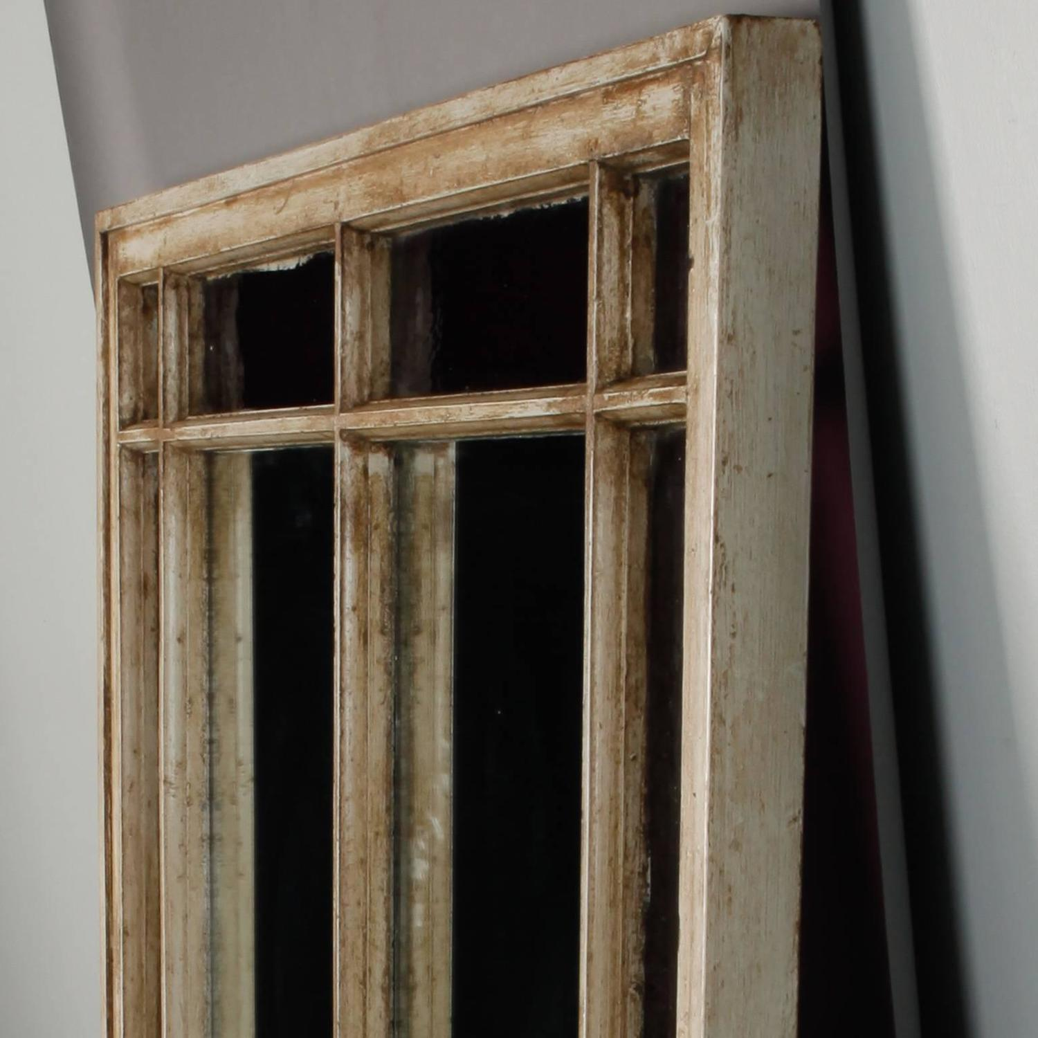 Antique window frame mirror with original amethyst stained for Window mirrors for sale