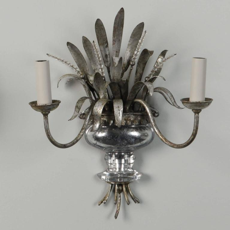 Wall Sconces With Mercury Glass : Pair Two-Light Silver Gilt and Mercury Glass Sconces at 1stdibs