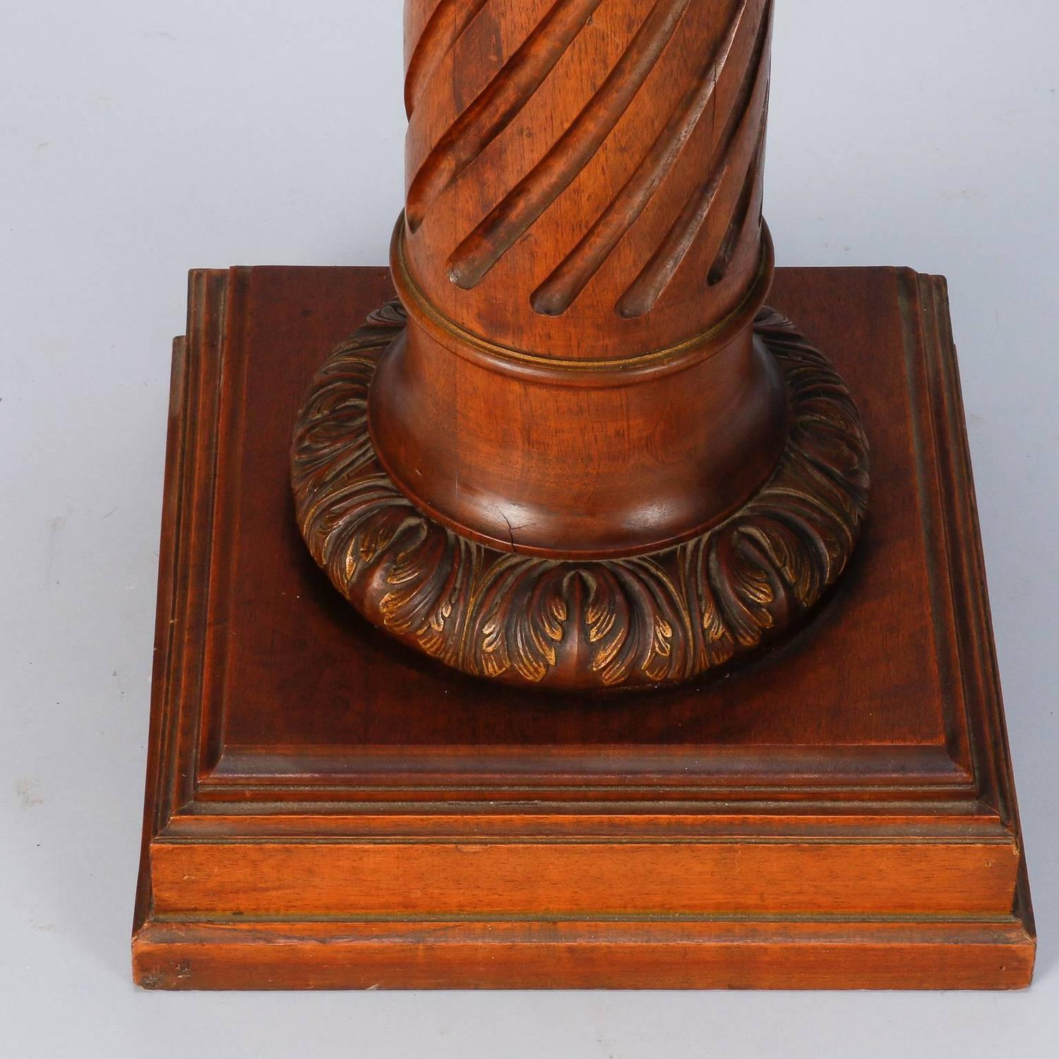 Tall Carved Wood Pedestal Plant Or Statue Stand For At