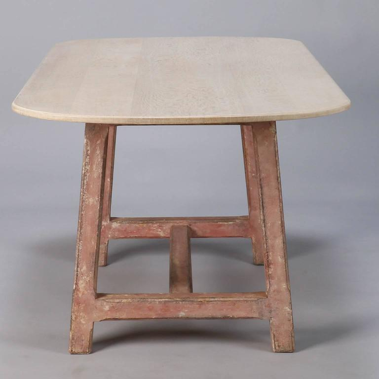 French Bleached Dining Table With Painted Base For Sale At