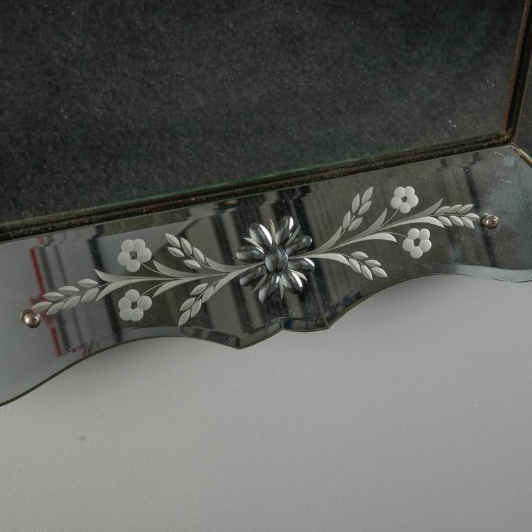 Italian Art Deco Era Etched Frame Venetian Mirror For Sale