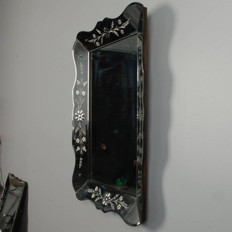 Art Deco Era Etched Frame Venetian Mirror In Good Condition For Sale In Troy, MI