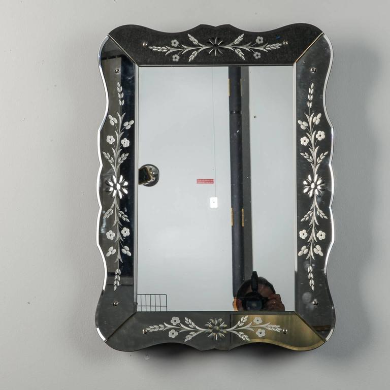 Art Deco Era Etched Frame Venetian Mirror For Sale 2