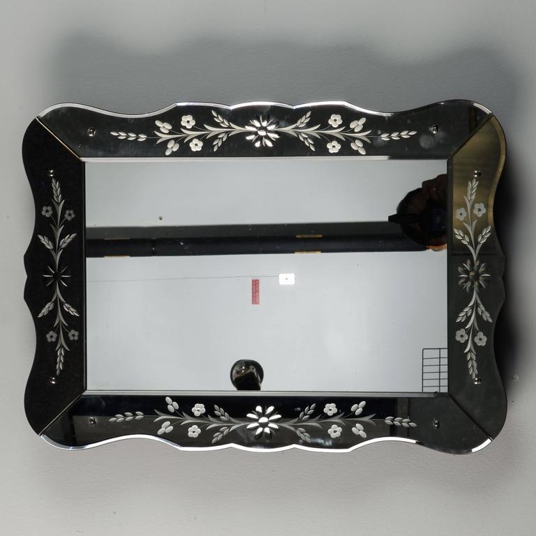 Art Deco Era Etched Frame Venetian Mirror For Sale 1