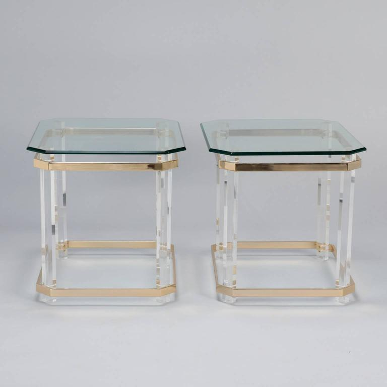 Pair Mid Century Lucite Brass and Glass Side Tables 2
