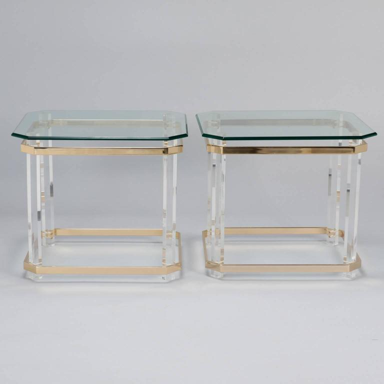 Pair Mid Century Lucite Brass and Glass Side Tables 3