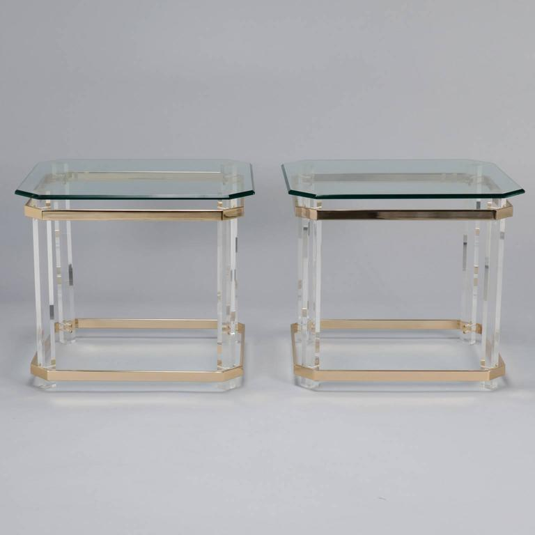 Pair Mid Century Lucite Brass and Glass Side Tables 4