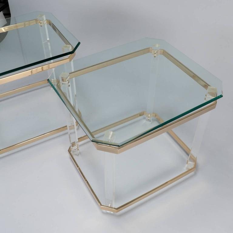 Pair Mid Century Lucite Brass and Glass Side Tables 5