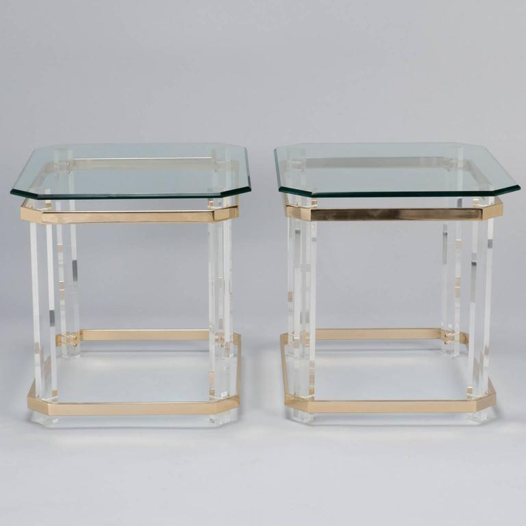Pair Mid Century Lucite Brass and Glass Side Tables 6