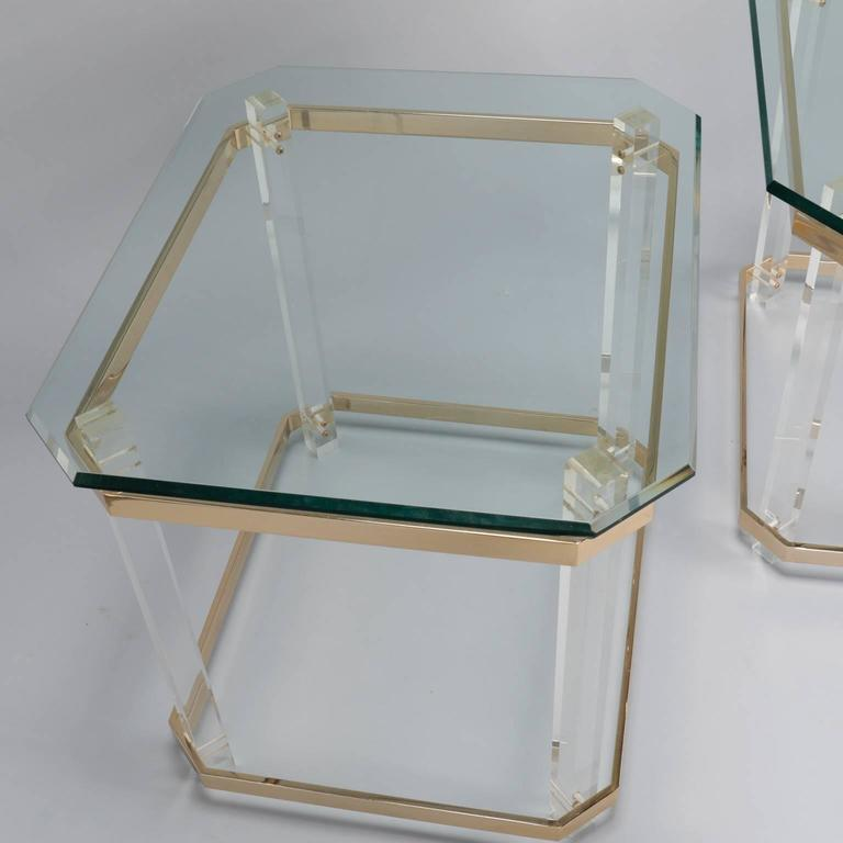Pair Mid Century Lucite Brass and Glass Side Tables 8
