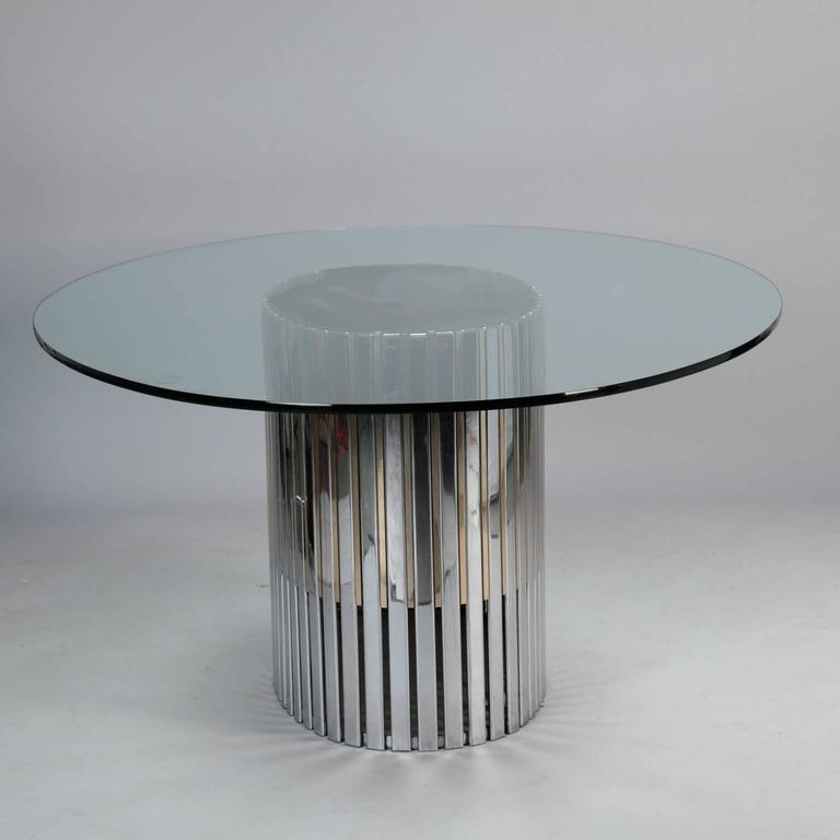 Mid Century Oval Glass Top Dining Table With Mixed Metal Slatted Base Of Polished Chrome