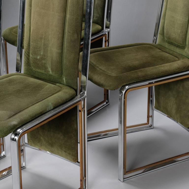 Mid Century Modern Set Of Six Italian Mid Century Chrome Brass Frame High  Back