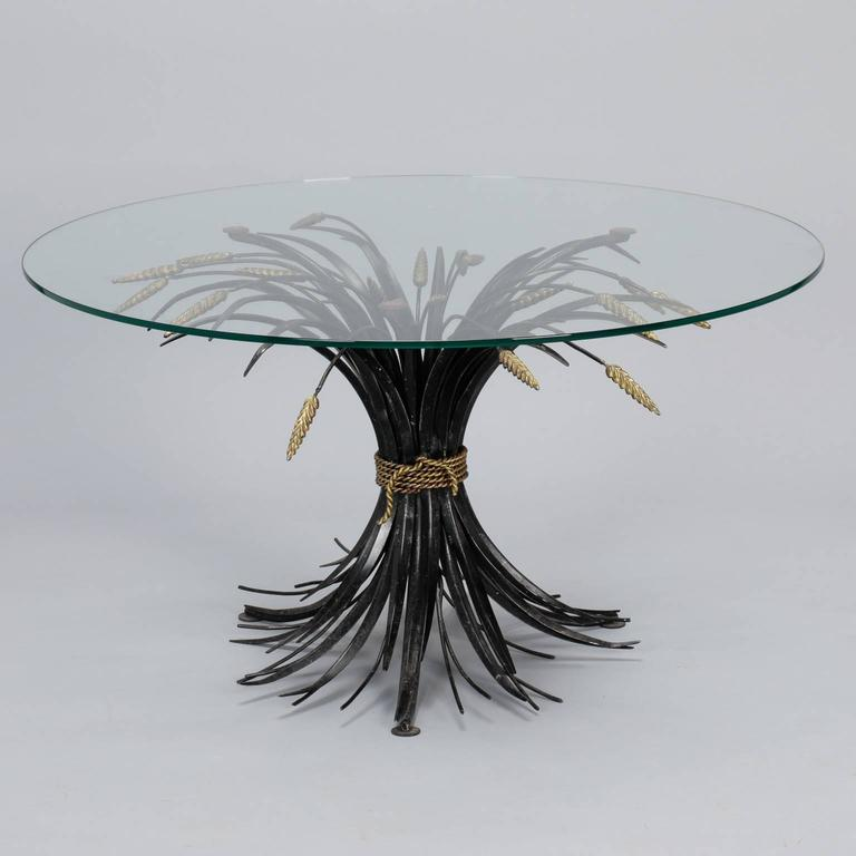 Hollywood Regency Italian Black and Gilt Wheat Sheaf Table with Glass Top For Sale
