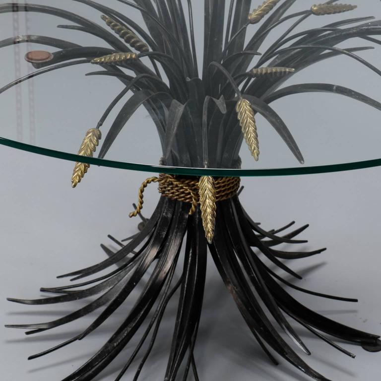 Cast Italian Black and Gilt Wheat Sheaf Table with Glass Top For Sale