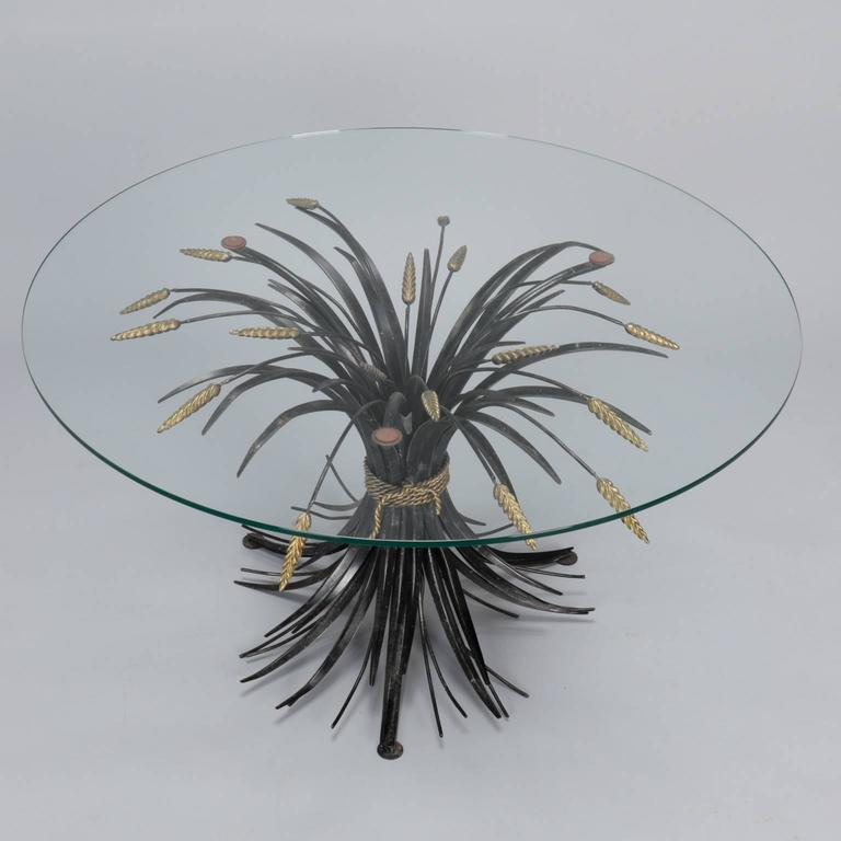 Italian Black and Gilt Wheat Sheaf Table with Glass Top In Good Condition For Sale In Troy, MI