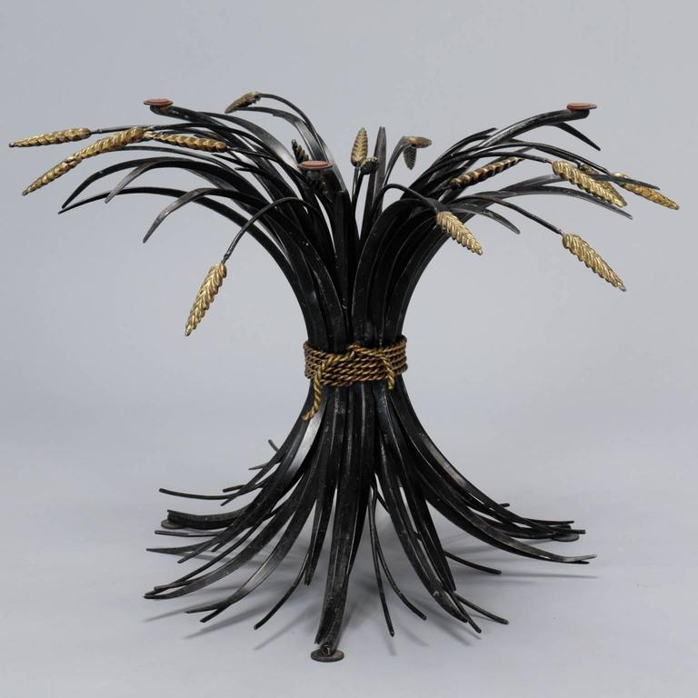 20th Century Italian Black and Gilt Wheat Sheaf Table with Glass Top For Sale
