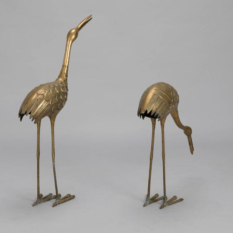 Mid-Century Modern Pair of Mid-Century Tall Brass Crane Statues For Sale