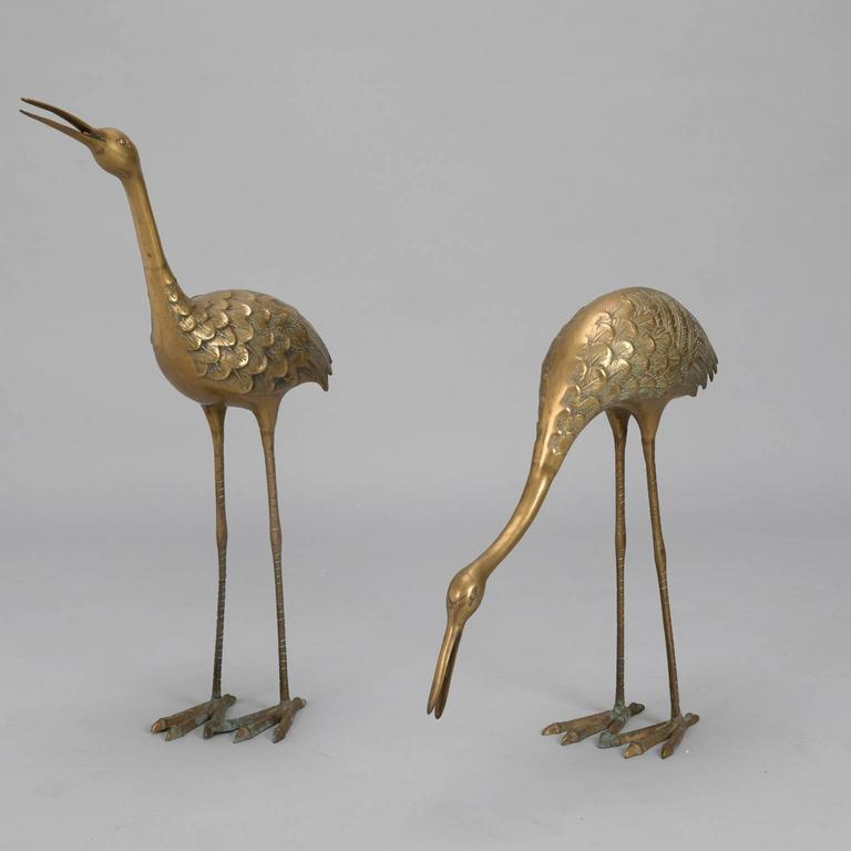European Pair of Mid-Century Tall Brass Crane Statues For Sale
