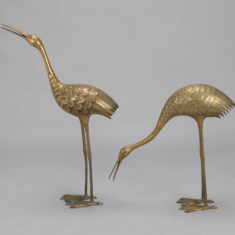 Cast Pair of Mid-Century Tall Brass Crane Statues For Sale