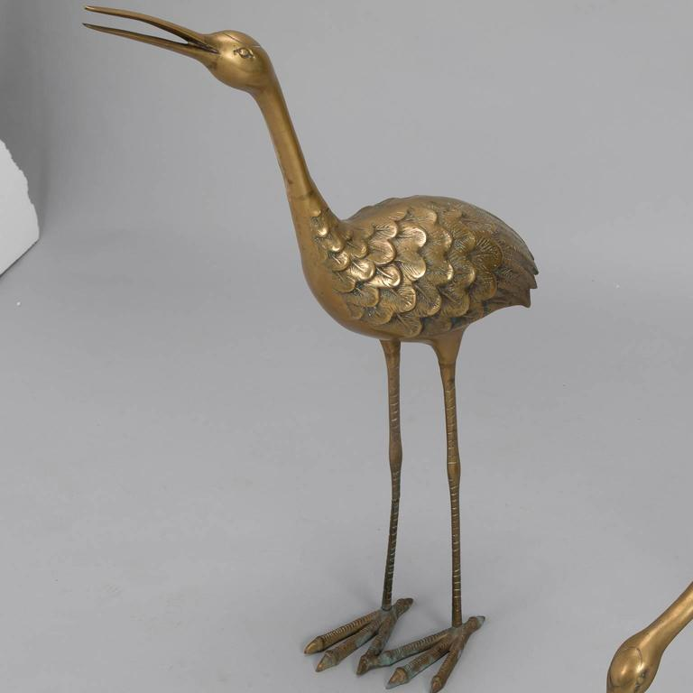 Pair of Mid-Century Tall Brass Crane Statues For Sale 1